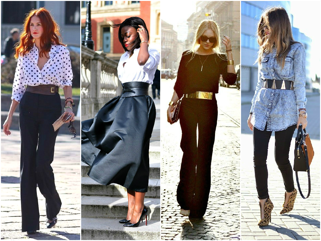 Wide belts are still super chic for spring. I have had a wide black leather belt for years (similar to the one in the second outfit above), I know it will keep coming back in fashion and I love wearing it. My favorite way to wear it is just like in the first outfit with my black slacks,a lighter colored blouse and high heeled pumps.