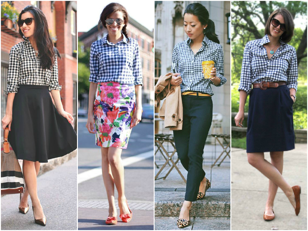 I've been seeing lots of gingham and I love the black and white combination since I wear a lot of black. It's easy to pair with black slacks or a black skirt and change up the color of my accessories. I'm thinking to wear it with my red and tanshoes/bag combination and some fun accessories.