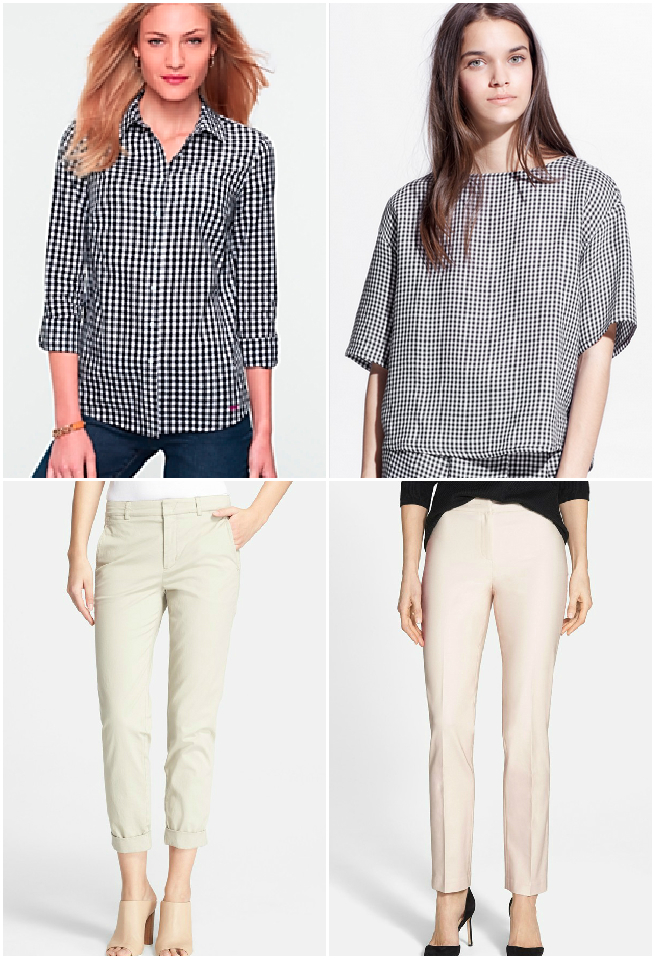 TOP Items: Talbots Gingham  Shirt $54.99 and Mango Gingham  Blouse $44.95  BOTTOM Items: Vince  Trousers $195  and  NIC + ZOE $128