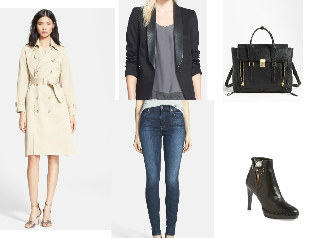 Trench Coat $660     //     Blazer $273     //     Jeans $198     //     Handbag $975     //     Booties $795