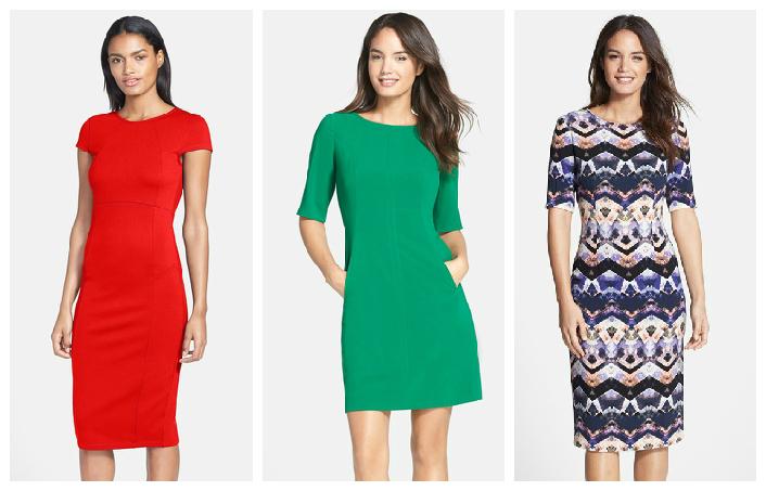 Felicity & Coco Red Dress $98   //   Tahari Green Dress $128   //   Maggy London Dress $138