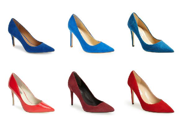 Calvin Klein Cobalt Pumps $99  //  Ivanka Trump Cobalt Pumps $134.95  //  DVF Cobalt Pumps $325  //  BCBGeneration Red Pumps $88.95  //  Kenneth Cole Red Pumps $169.95  //  DVF Red Pumps $325