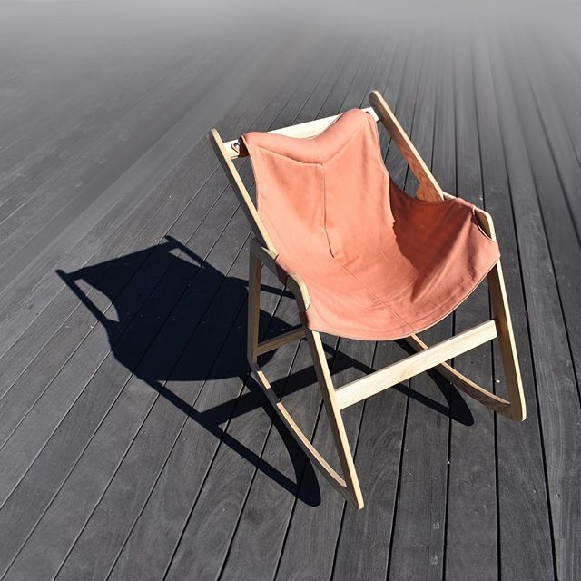 The modern rocker. Waxed ash frame with easily removable canvas seat. #rockingchair#chairdesign#furnituredesign#industrialdesign#risd#woodwork#softgoods