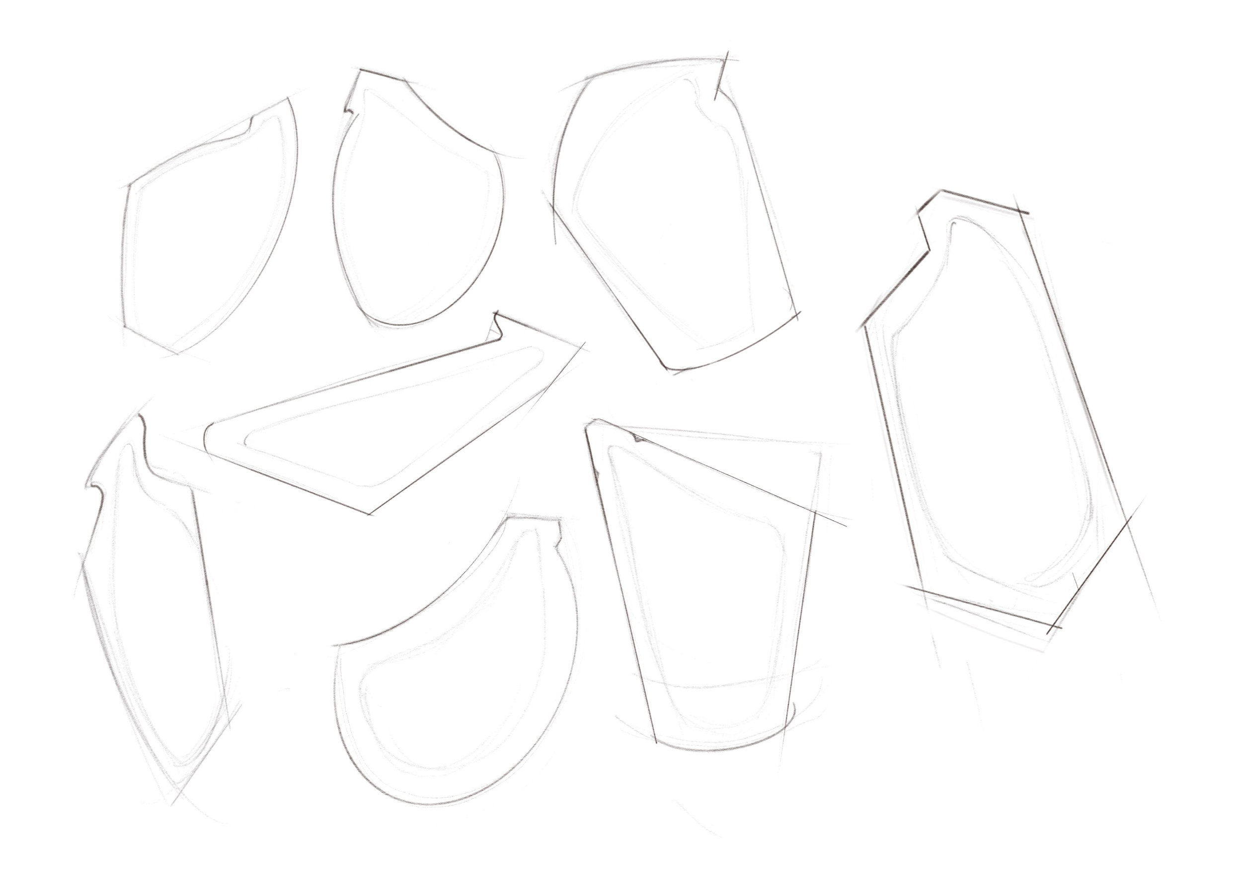 Form sketches for energy gel packaging based on ESM images.