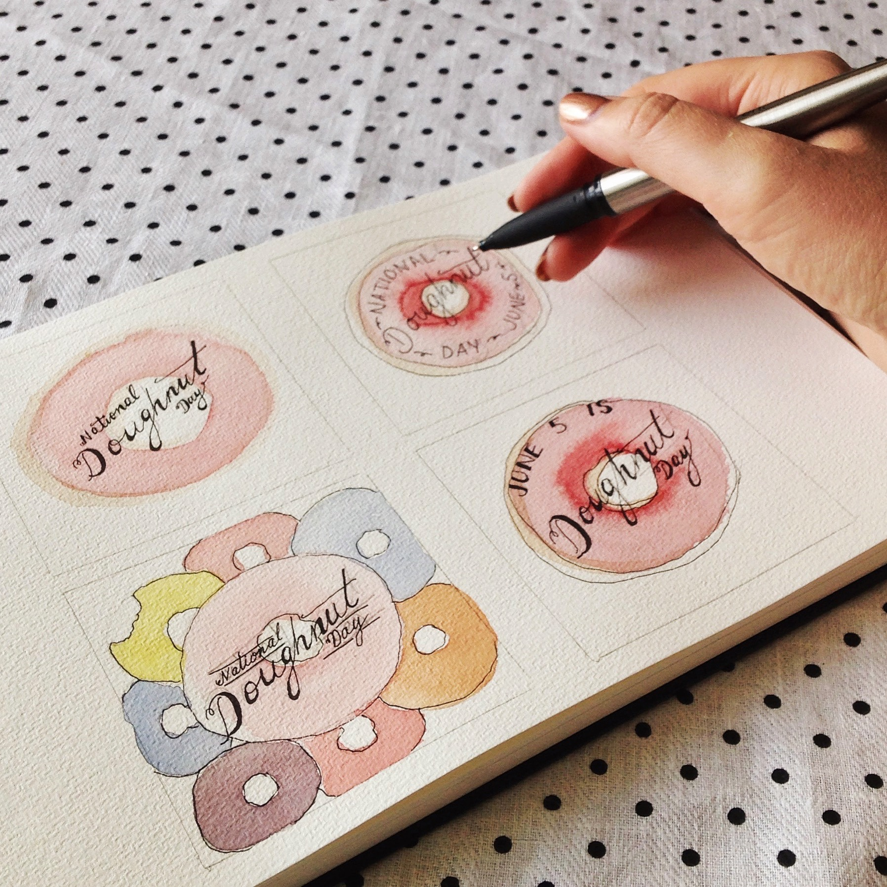 Sketching Donut Day thumbnails in my Sketchbook.
