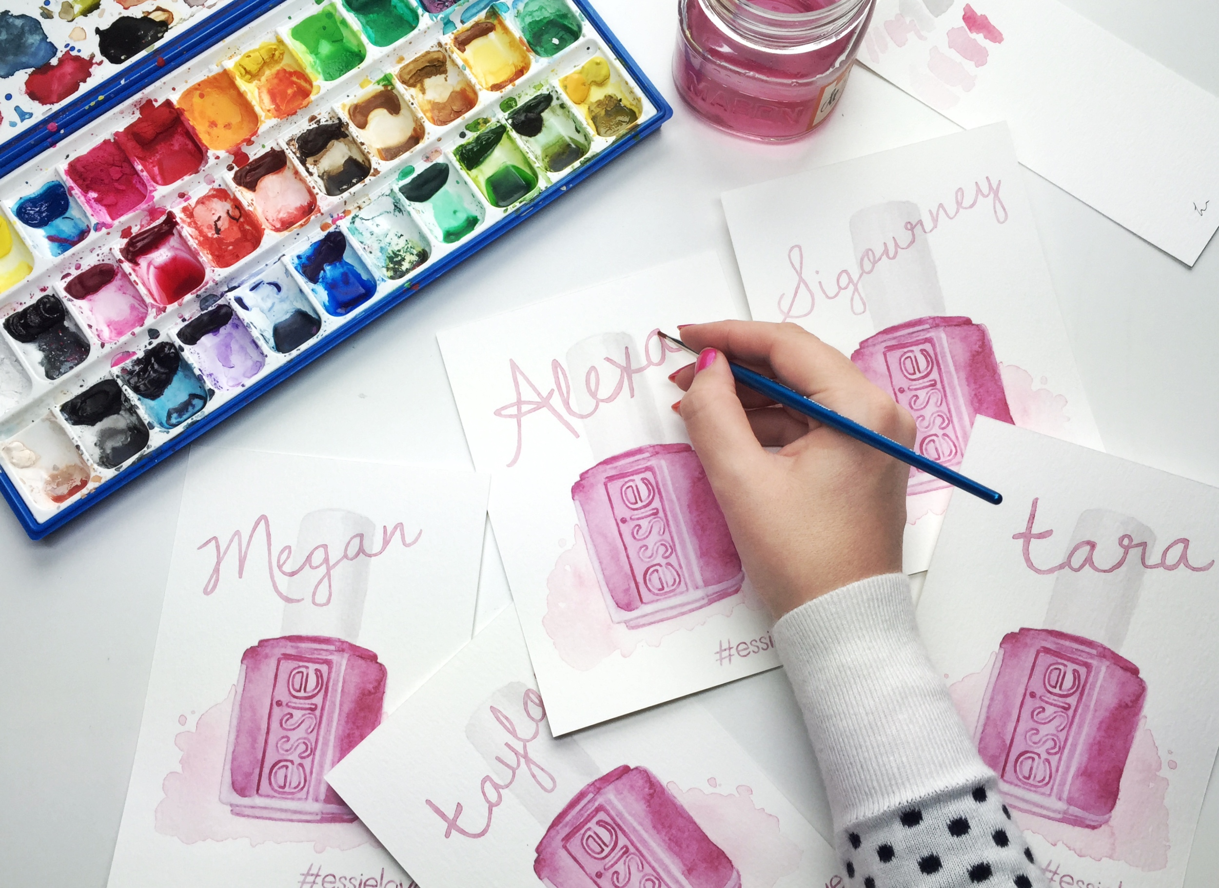 Essie Watercolor Collection Illustration by Jessica Mack of BrownPaperBunny