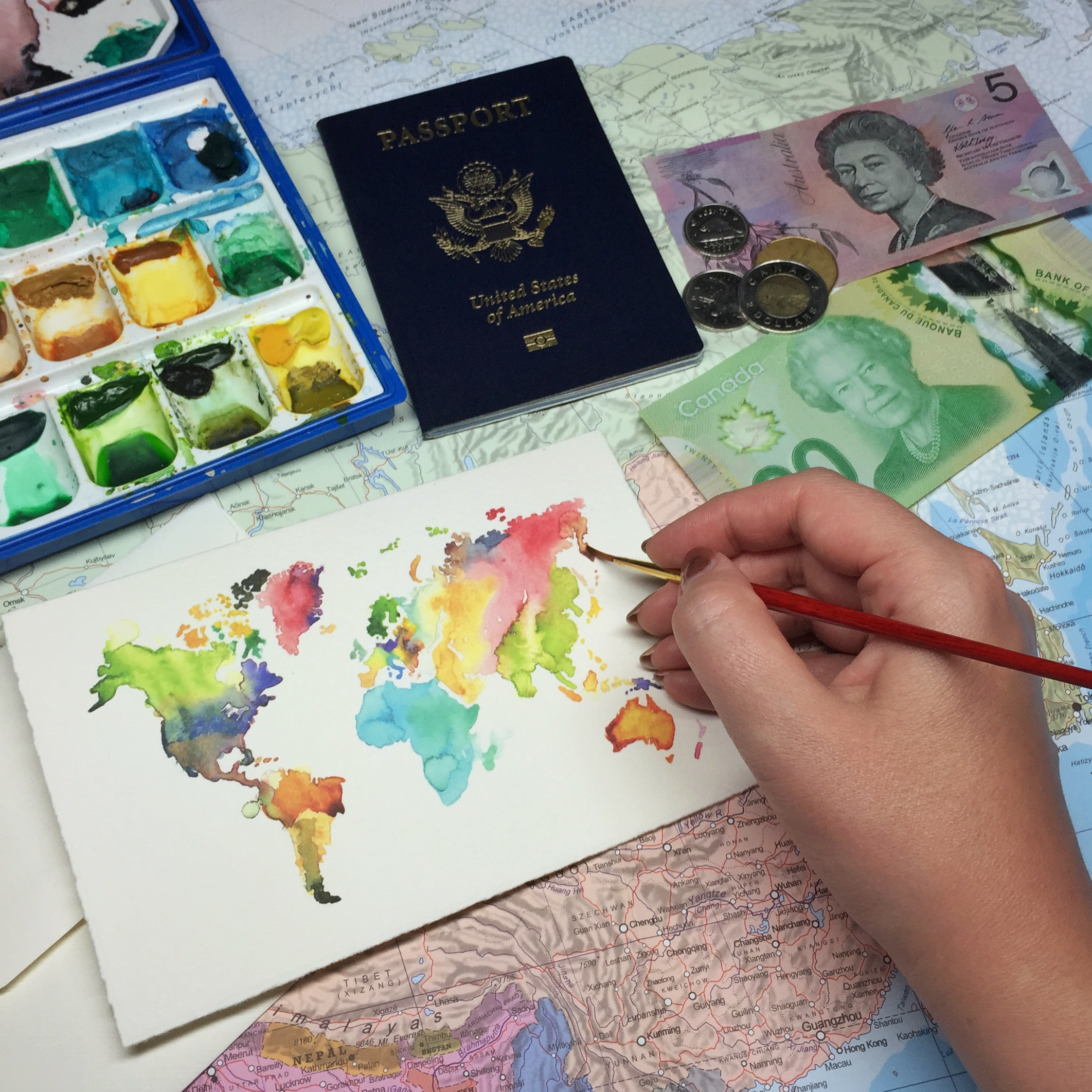 Watercolor Map Illustration by Jessica Mack of BrownPaperBunny