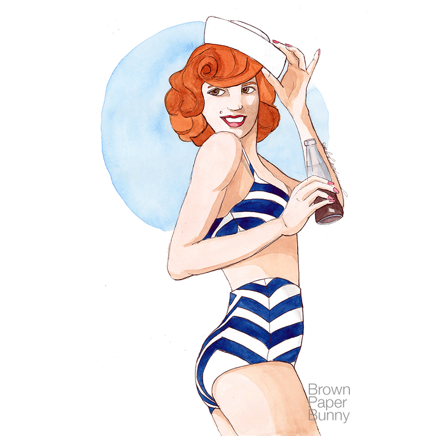 Watercolor '50s bathing suit, personal project