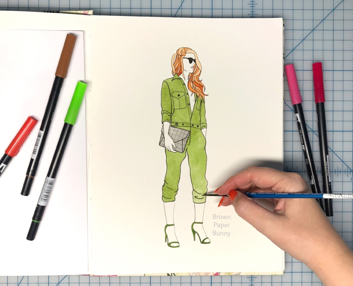 Army jumpsuit fashion illustration