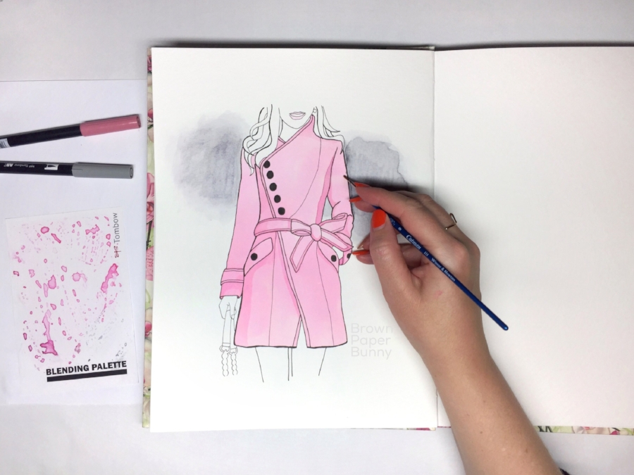 Pink Coat Fashion Illustration BrownPaperBunny
