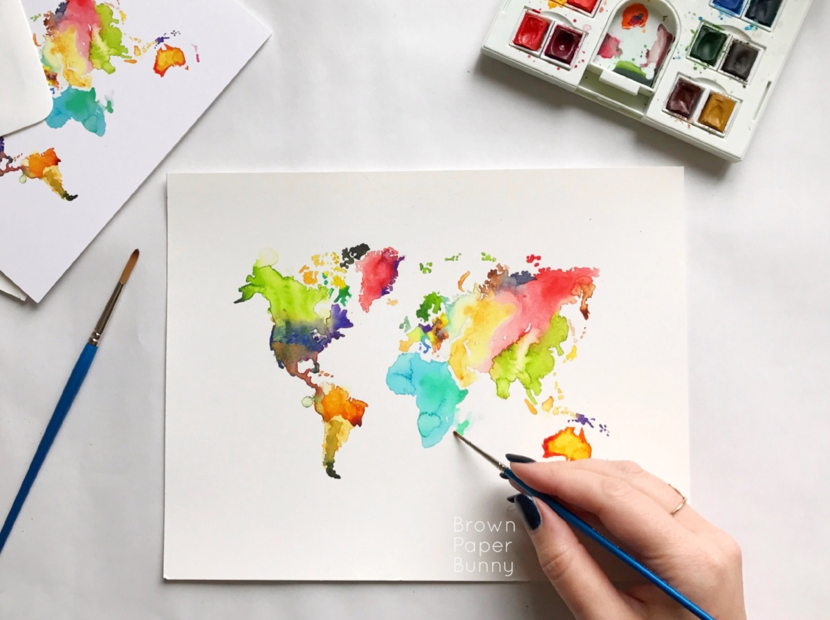 watercolor world map art print by BrownPaperBunny