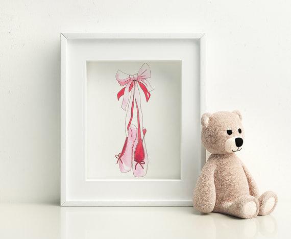 Pink ballet slippers watercolor art print by BrownPaperBunny