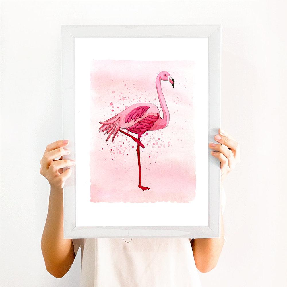 Flamingo art print watercolor by BrownPaperBunny