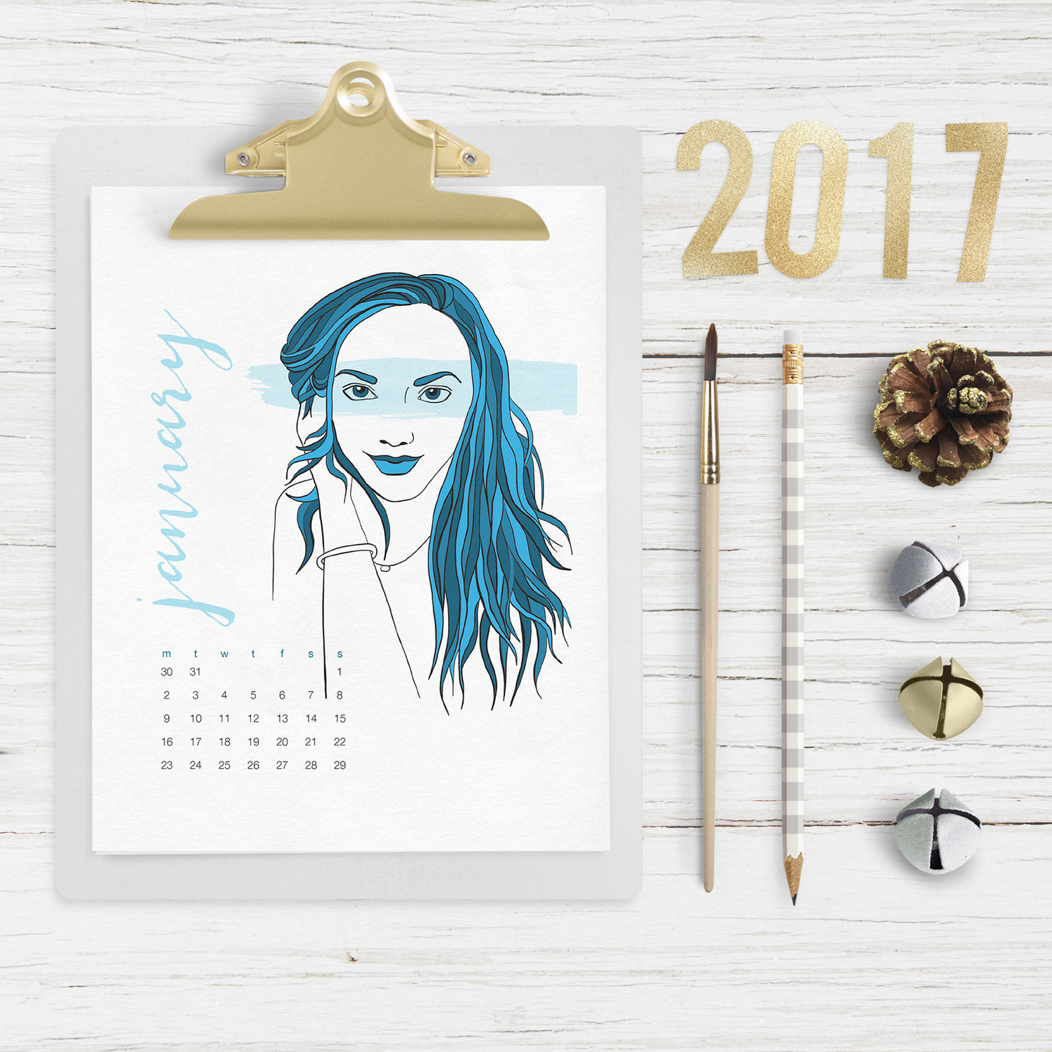Downloadable 2017 Illustrated Calendar by BrownPaperBunny