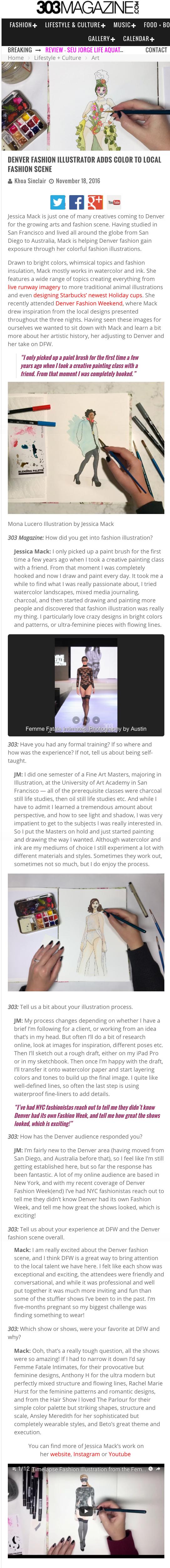 303 Magazine Interview Fashion Illustration Jessica Mack