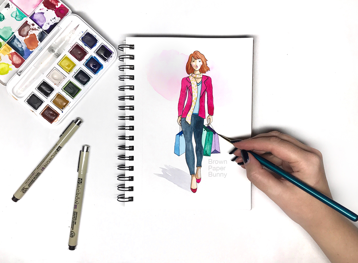 Fashion Illustration Girl with Shopping Bags