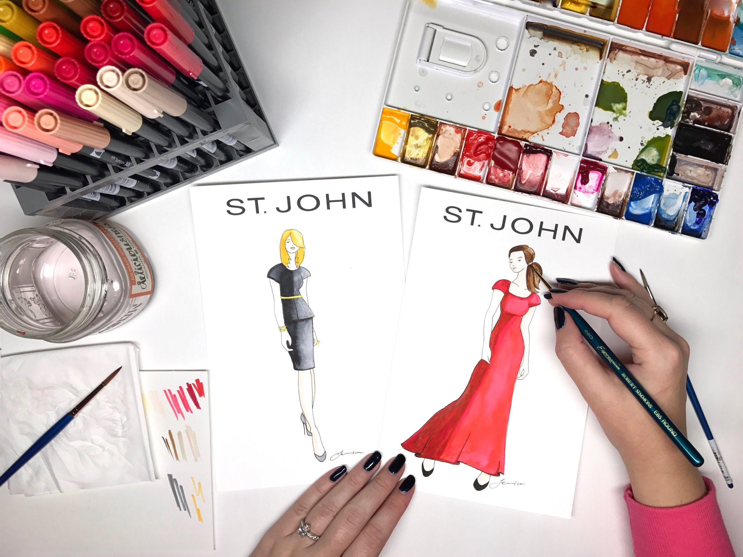 St John Knits Live Fashion Sketching by BrownPaperBunny