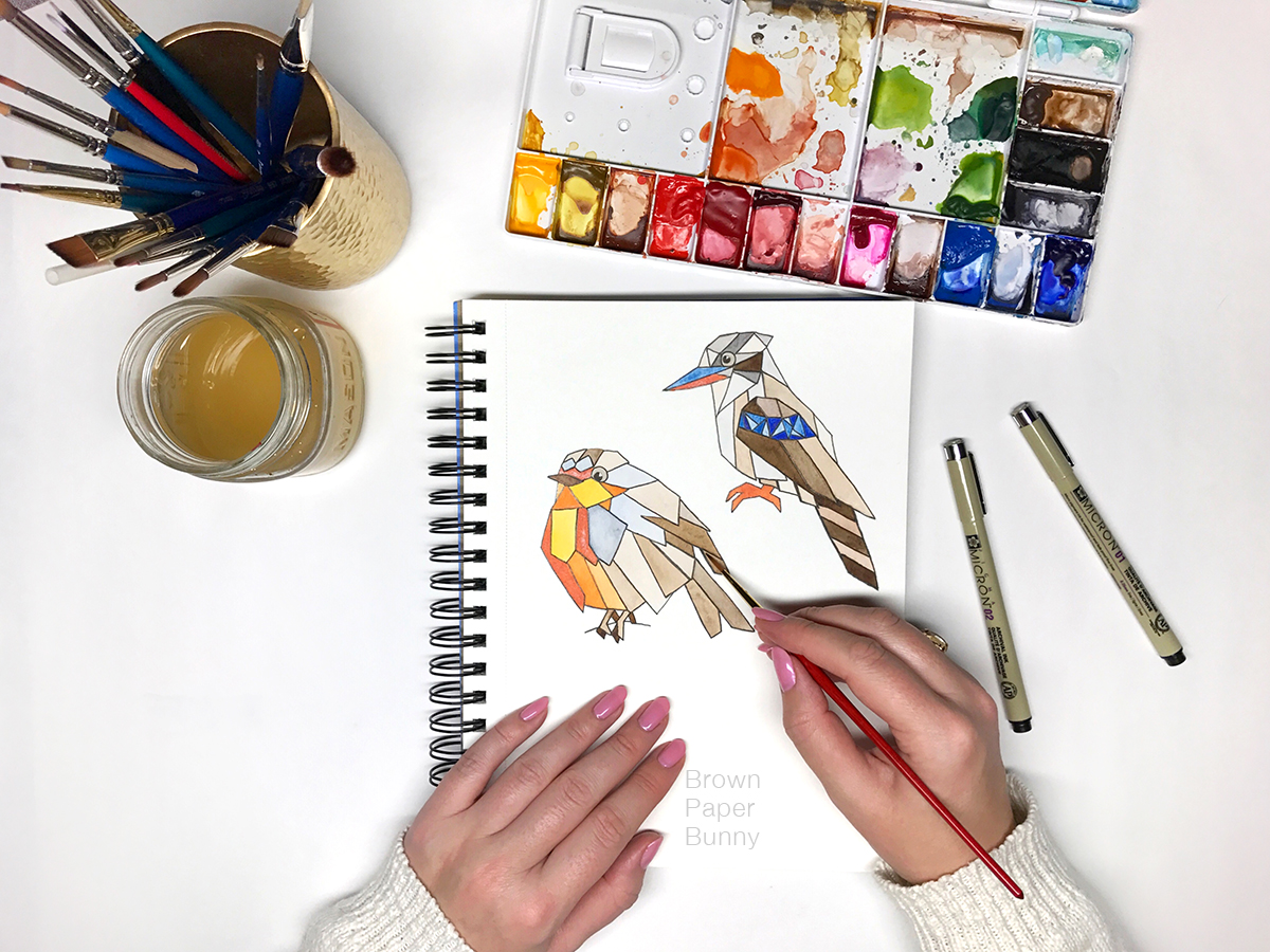 National Bird Day Watercolor Painting by BrownPaperBunny