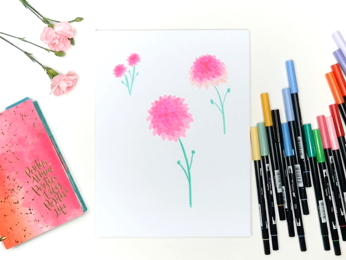 How to Draw Dahlias with Tombow Dual Brush Pens By BrownPaperBunny