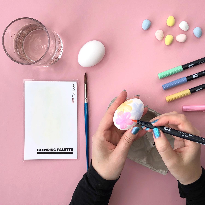 Watercolor easter eggs using Tombow Dual Brush Pens by Jessica Mack of BrownPaperBunny
