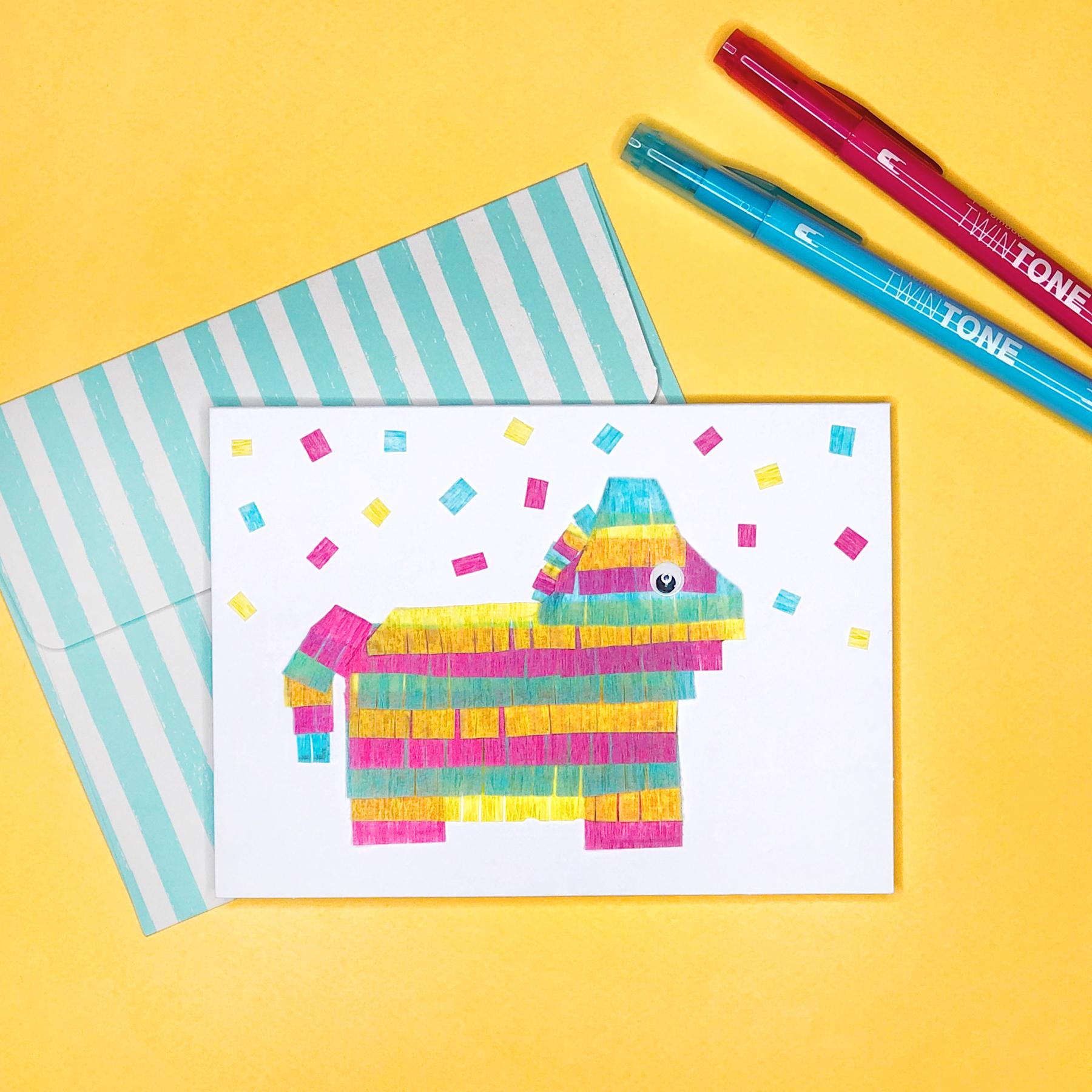 How to Make a Pinata Card by Jessica Mack of BrownPaperBunny