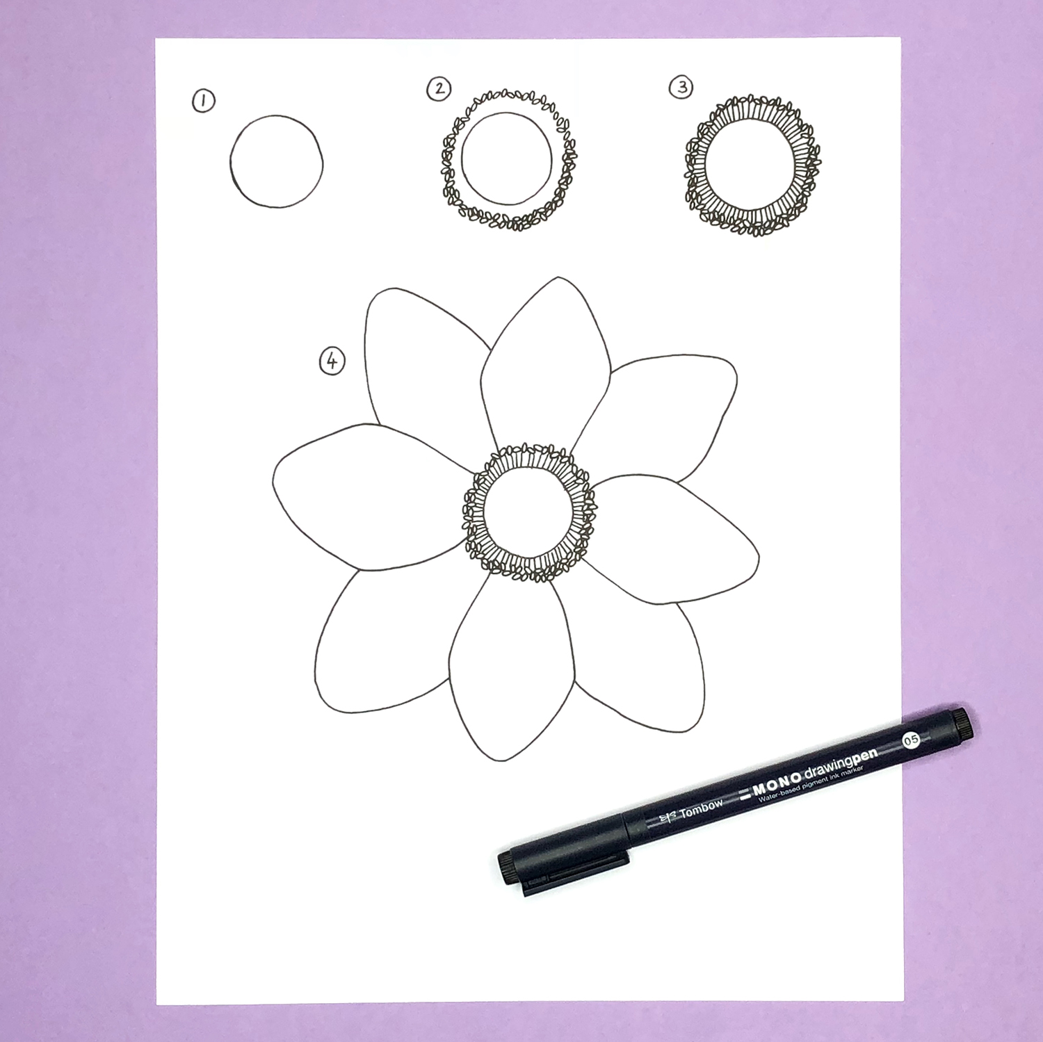 How to Draw an Anemone Flower by Jessica Mack from BrownPaperBunny