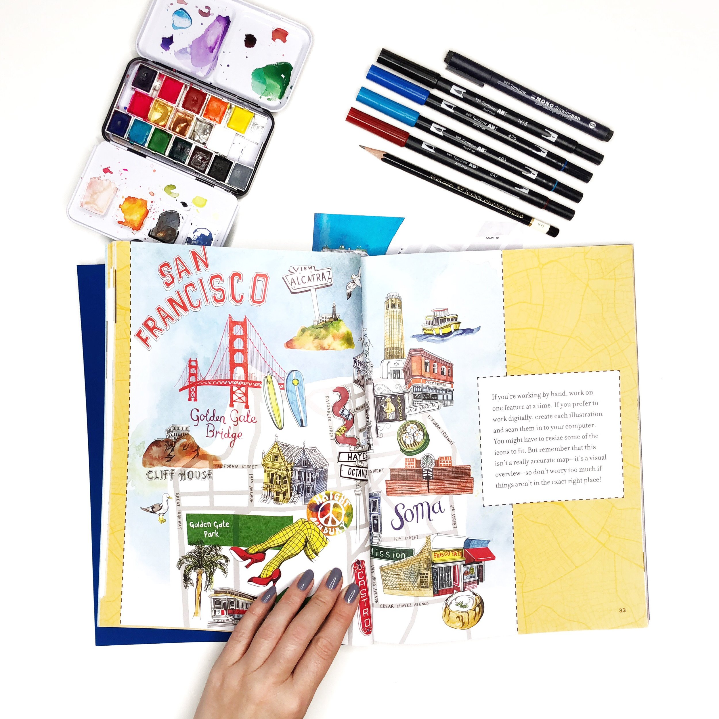 Watercolor and Ink Illustrated Map by Jessica Mack from BrownPaperBunny