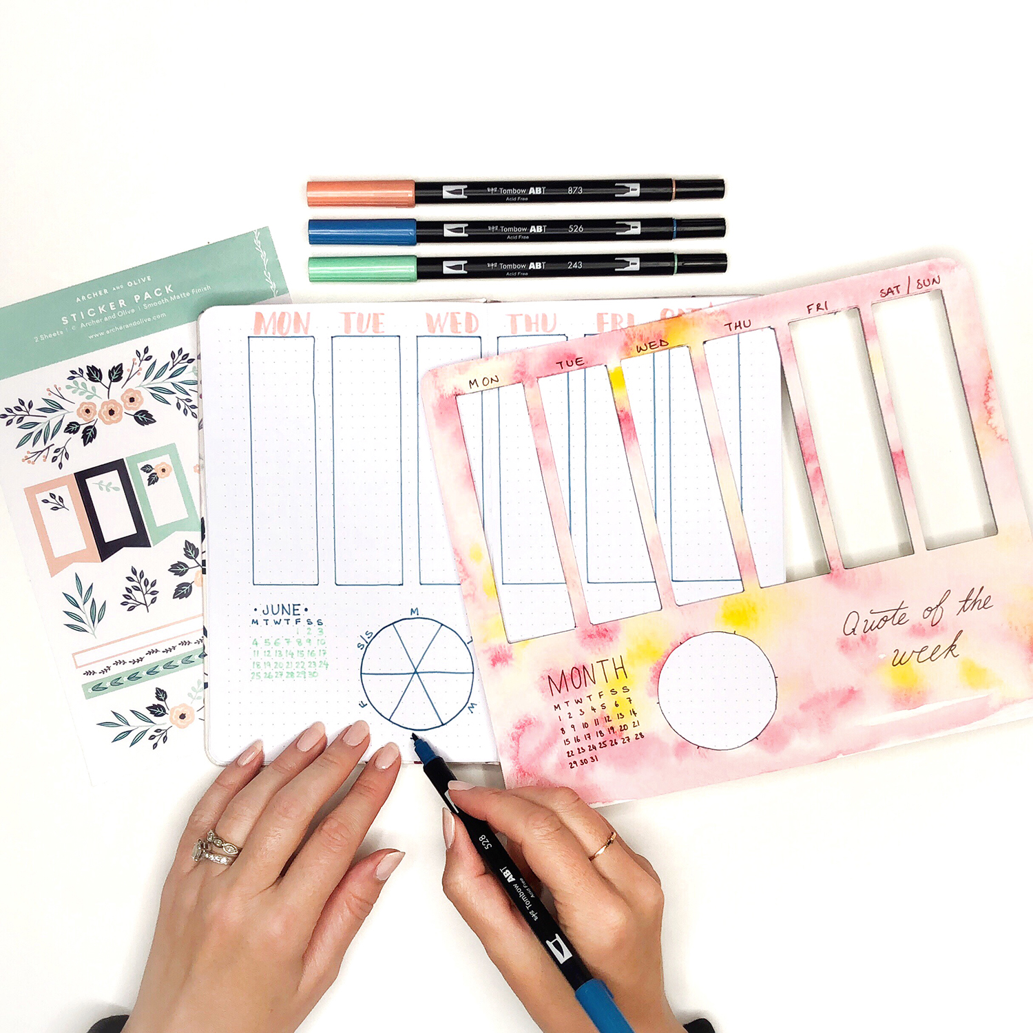 Template for Easy Weekly Planner Spreads by Jessica Mack of BrownPaperBunny
