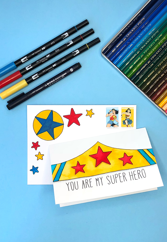 Make Your Own Superhero Card by Jessica Mack of BrownPaperBunny