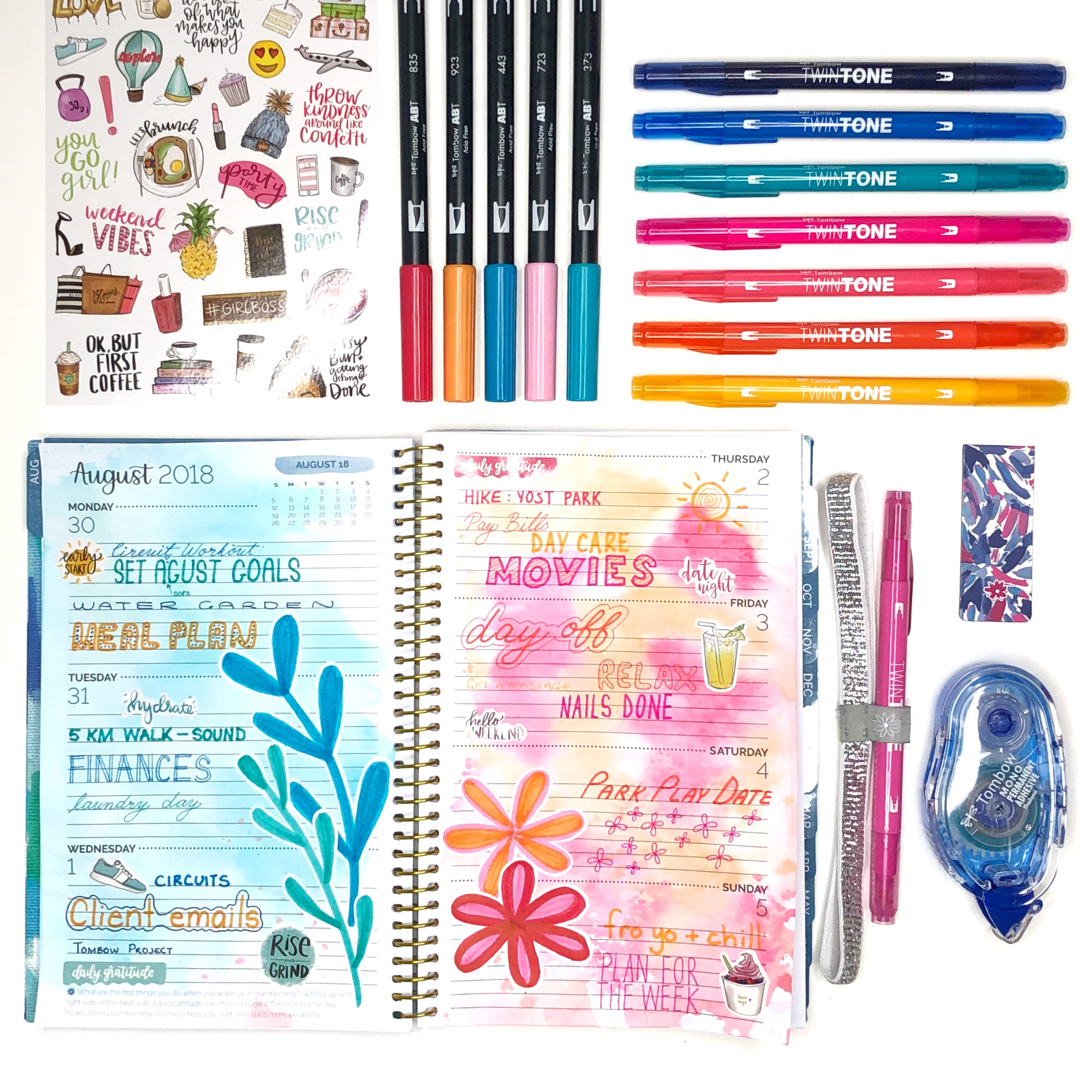 How to Make a Watercolor Background for Your Planner by Jessica Mack from BrownPaperBunny