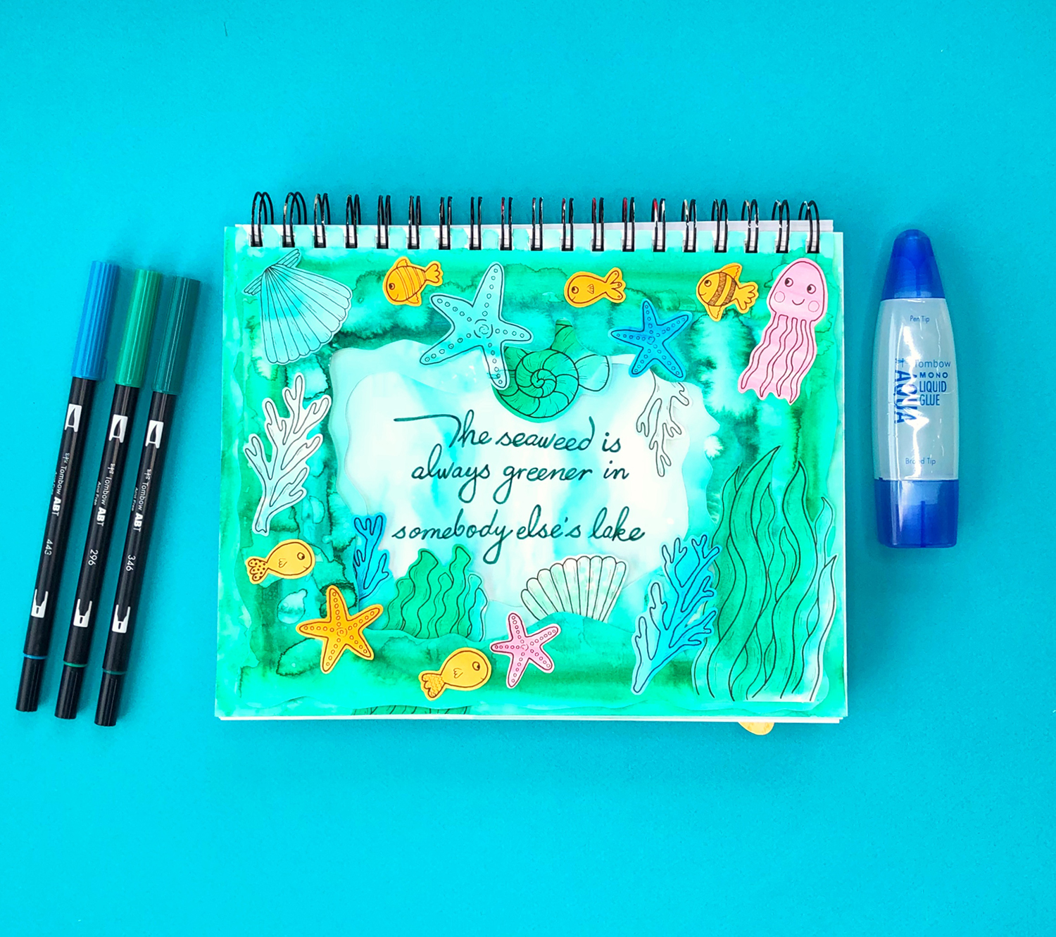 Art Journaling with the Tombow XL Blending Palette by Jessica Mack of BrownPaperBunny
