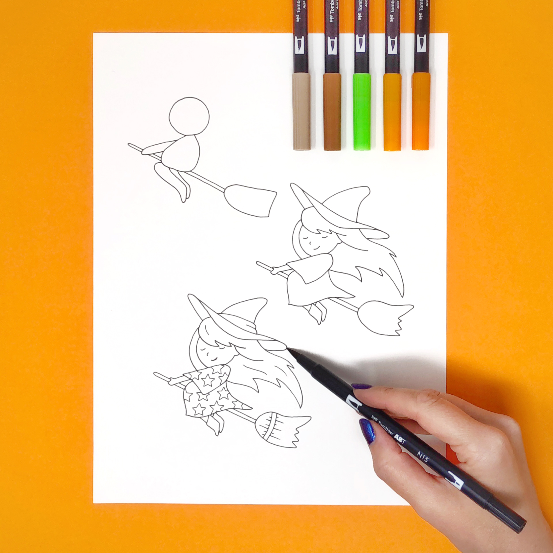 How to Draw a Witch by Jessica Mack of BrownPaperBunny