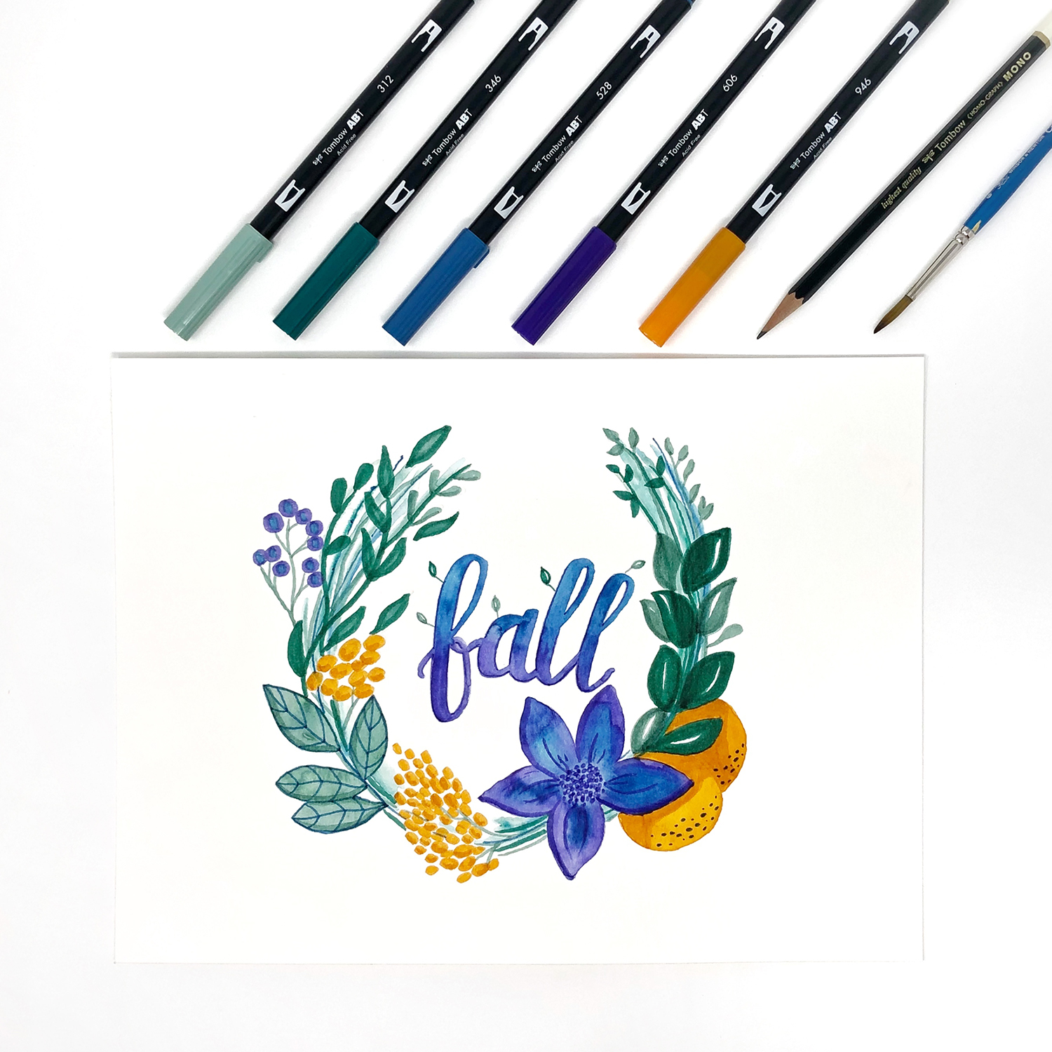 Draw a Fall Wreath in Jewel Tones by Jessica Mack of BrownPaperBunny