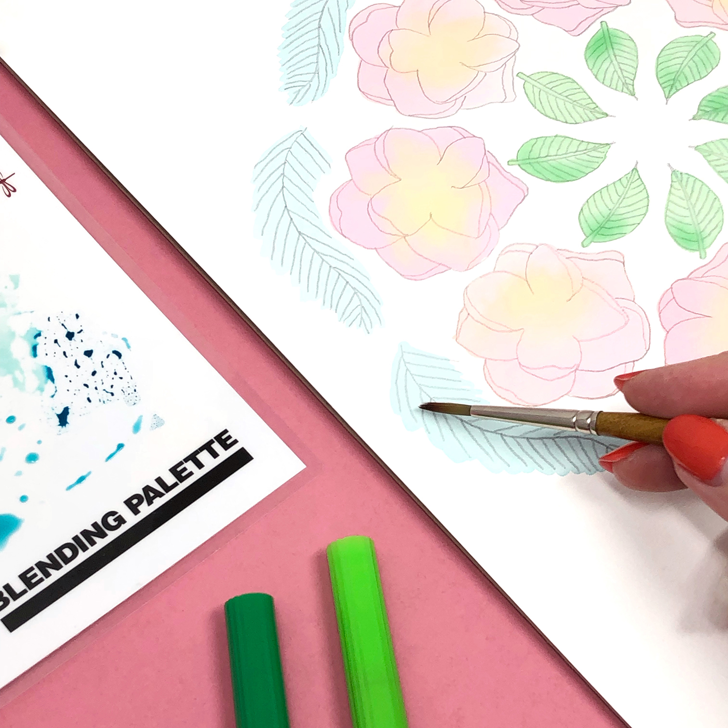 Blending Markers with Water by Jessica Mack of BrownPaperBunny