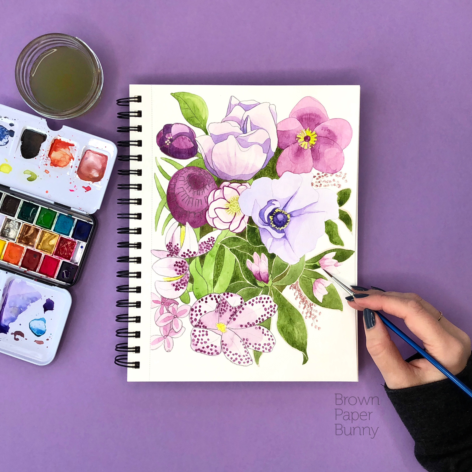 Watercolor floral illustration created for Prima Watercolors.