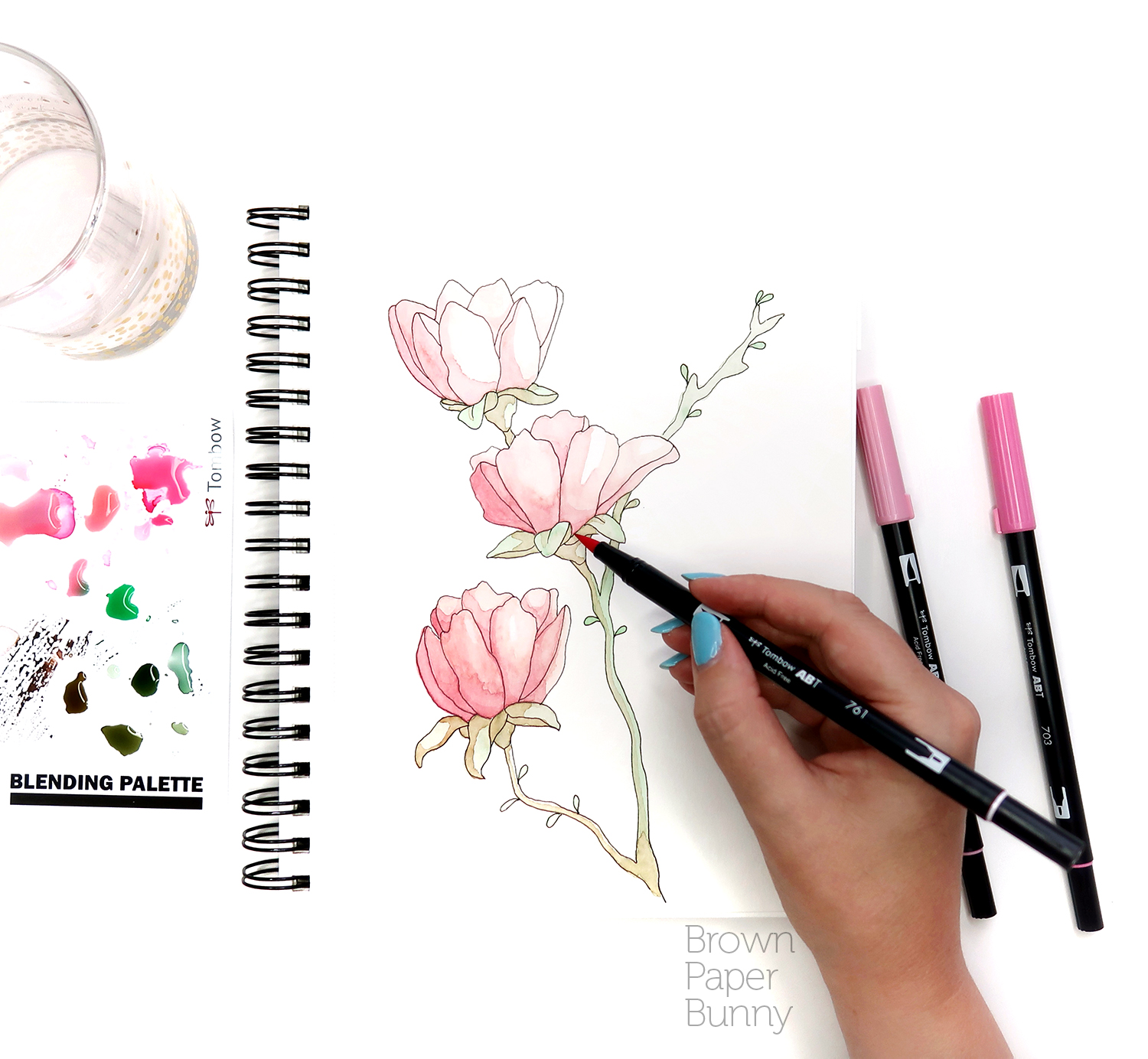 Ink florals created on behalf of Tombow.