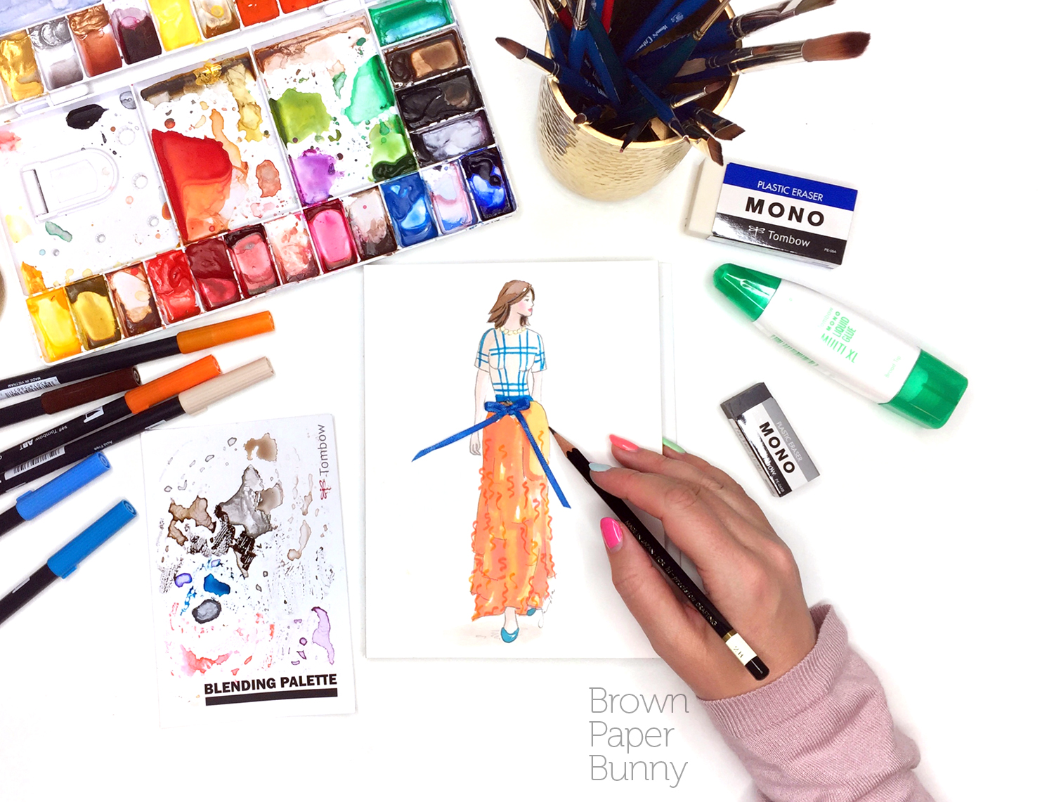 Ink fashion illustration created for Tombow, as part of a Fashion Week campaign.