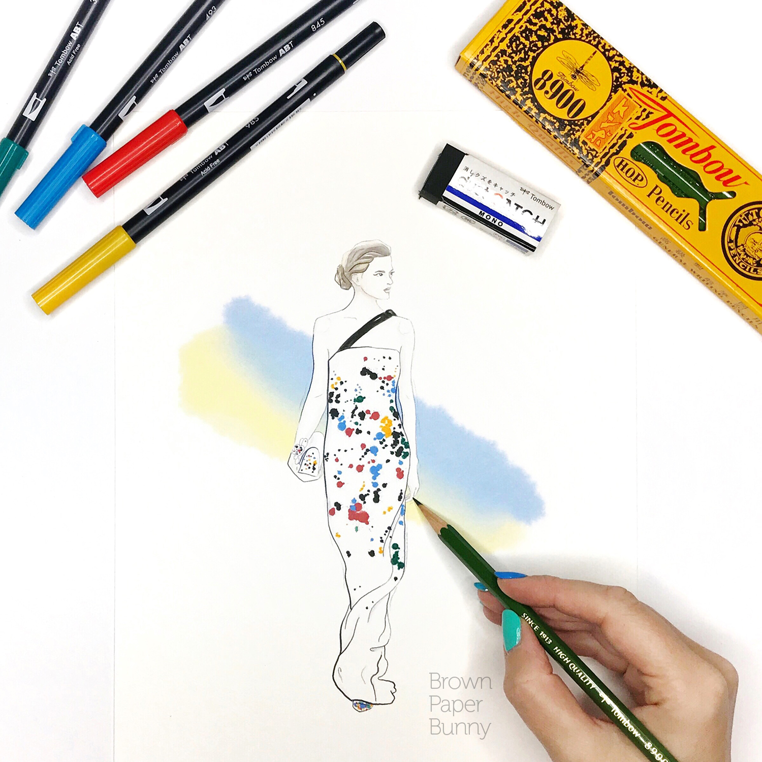 Ink and pencil fashion illustration, created for Tombow.