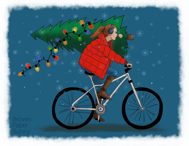 Digital fashion illustration, holiday greeting card.