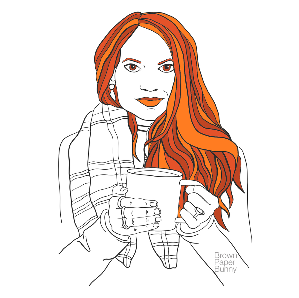 Digital fashion illustration, created for coloring book.