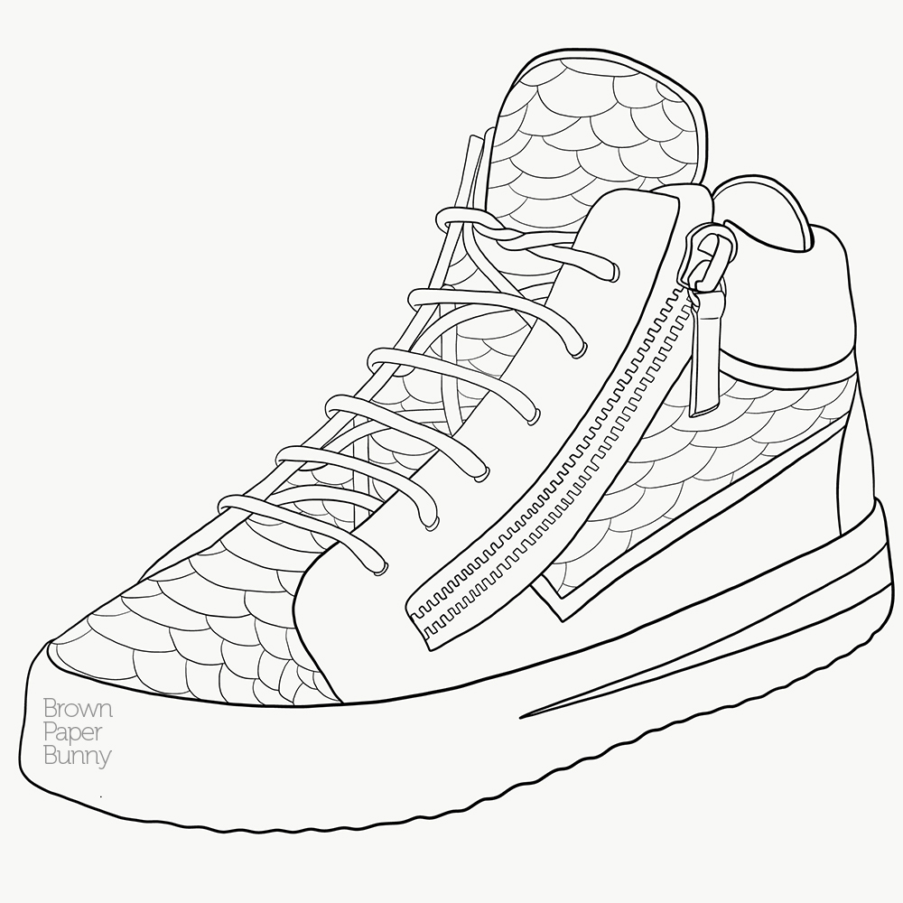 Vector line art, created for fashion illustration coloring book.