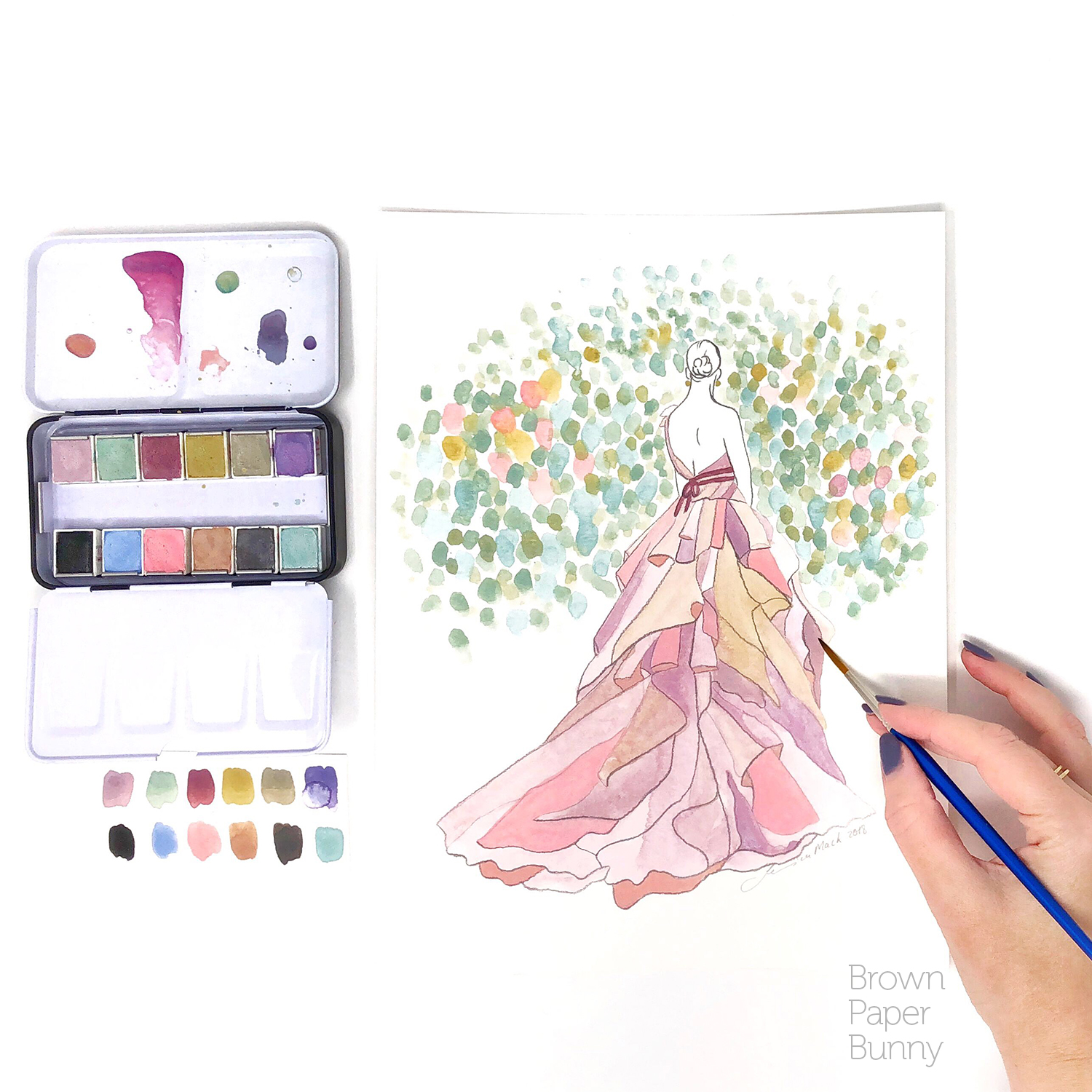 Watercolor fashion illustration created for Prima Watercolors to launch their Vintage Pastel set.