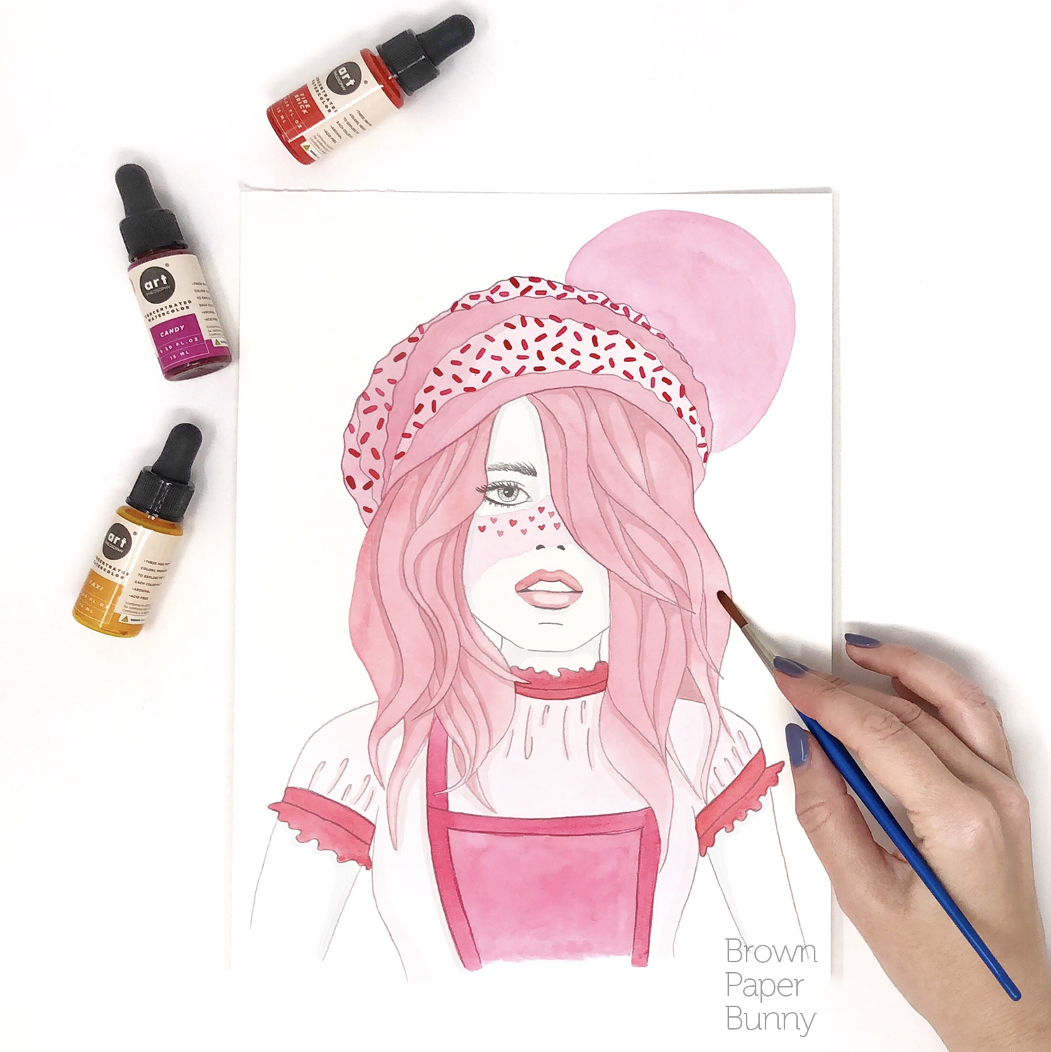 Watercolor fashion illustration created for Prima Watercolors, to launch their new liquid watercolor range.