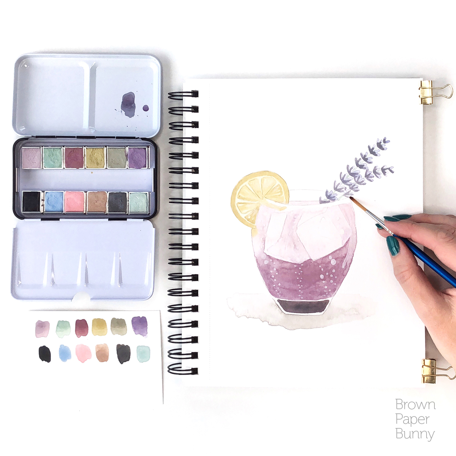 Watercolor illustration created for Prima Watercolors to launch their new Vintage Pastel set.