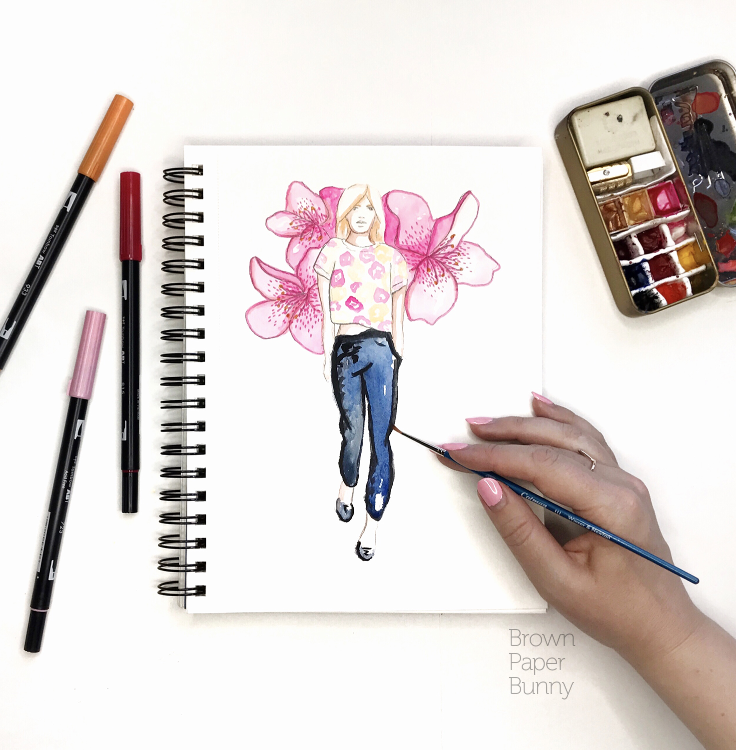 Watercolor fashion illustration, personal project.
