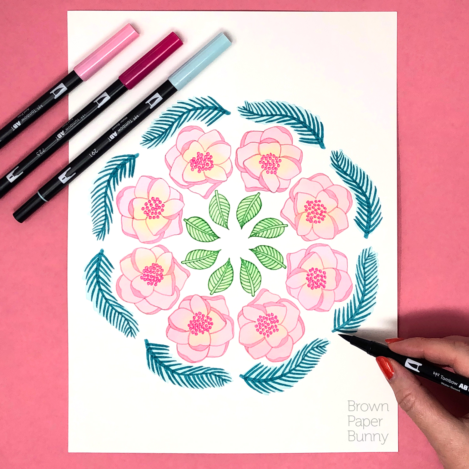 Ink floral design created for Tombow.