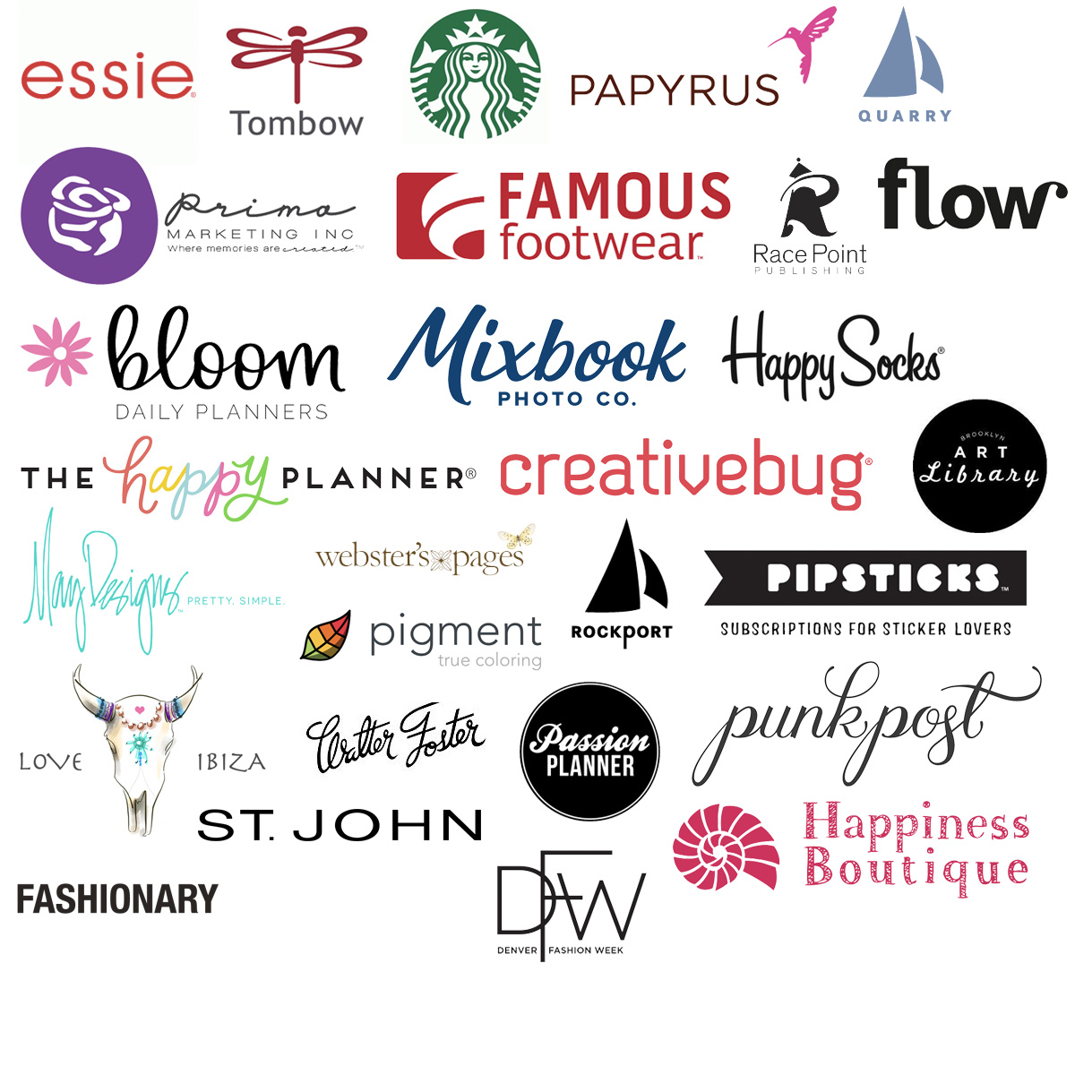 Favorite Clients include: Essie, Starbucks, Tombow, Prima Marketing, Famous Footwear, Happiness Boutique, Love Ibiza, St John Knits, Denver Fashion Week, Quarry Publishing, Rockport Publishing, Papyrus, Flow, RacePoint Publishing, The Happy Planner, Bloom Daily Planners, Mixbook, Happy Socks, CreativeBug, Brooklyn Art Library, May Designs, Pigment Coloring App, Pipsticks, Webster's Pages, Punkpost, Passion Planner and more!