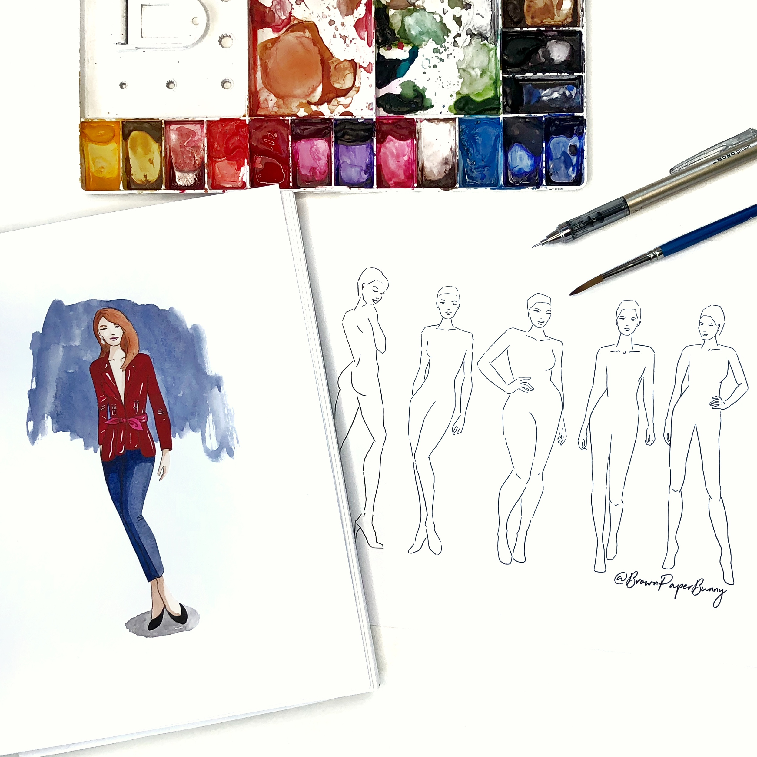 Free Downloadable Fashion Illustration Figure Croquis by Jessica Mack of BrownPaperBunny