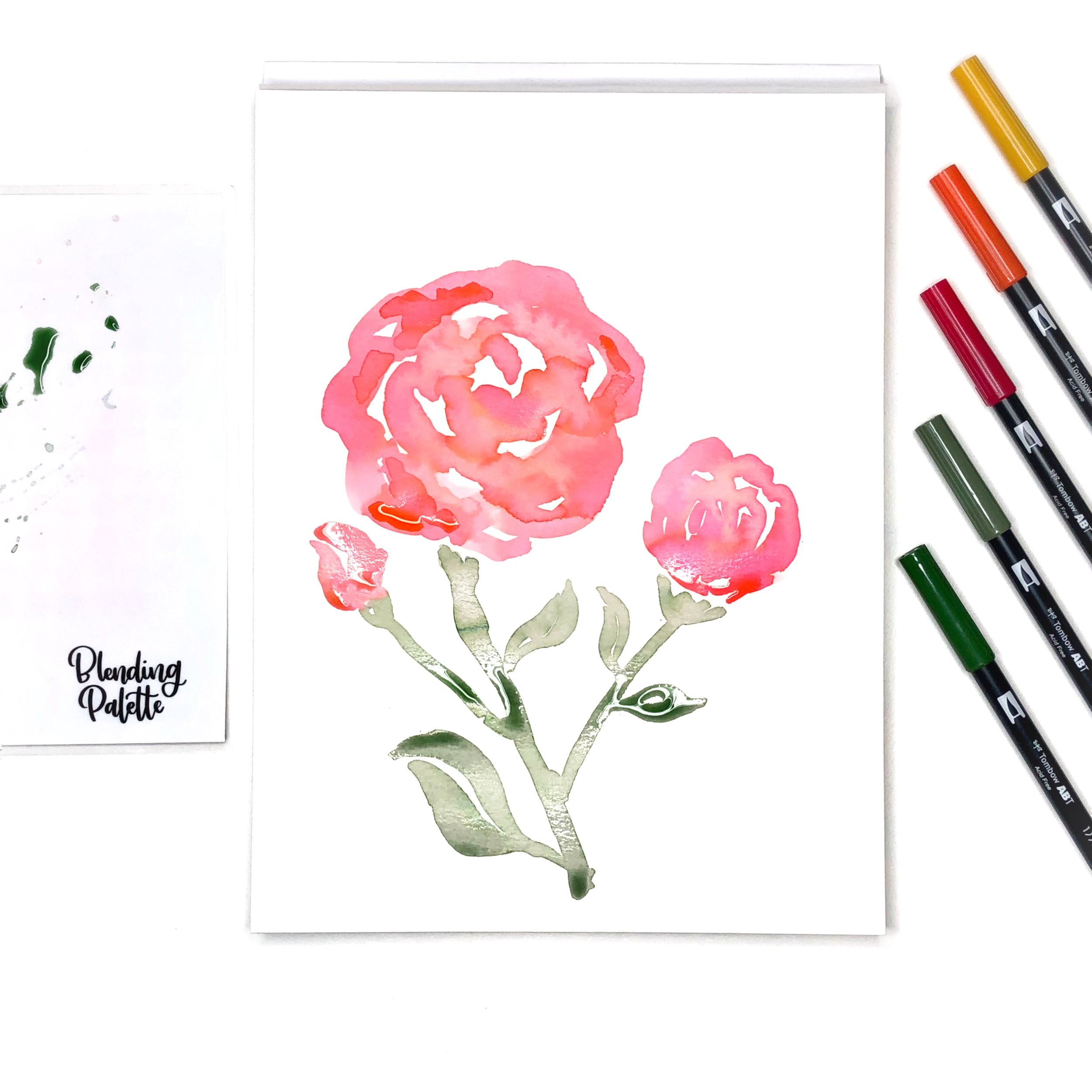 Loose Watercolor Florals in Living Coral by Jessica Mack of BrownPaperBunny