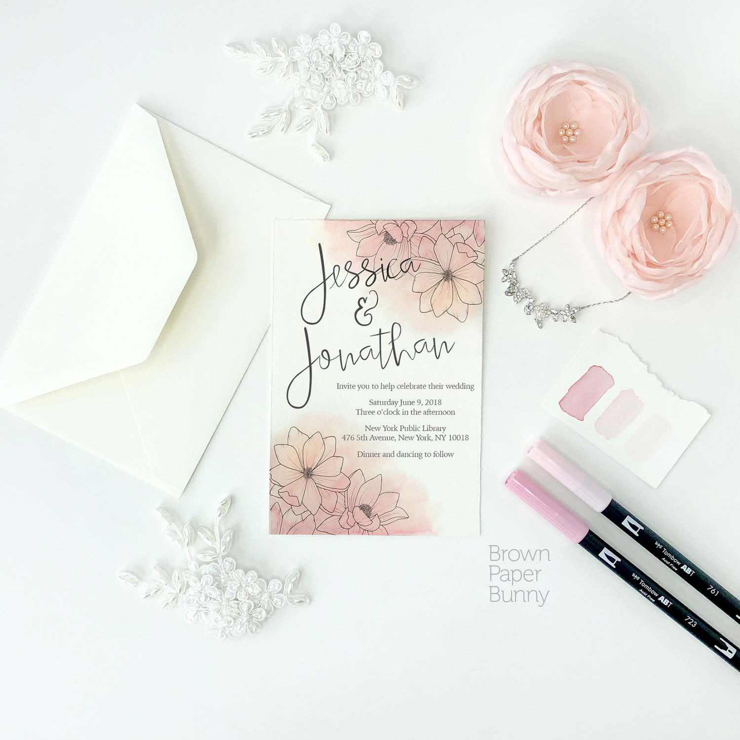 Wedding invitation created on behalf of Tombow